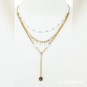 Jewelry - White Beaded Layered Necklace gold & white!.